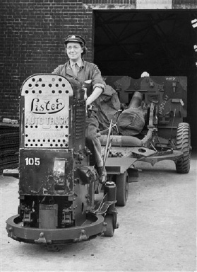 "One of the largest Ordnance imports in the country is being run almost entirely by members of the A.T.S. Private Dorothy Taylor of Pudnaey worker driving her ""Edlly"" towing a 66 pounder at the depot, August 31, 1942. (AP Photo)"