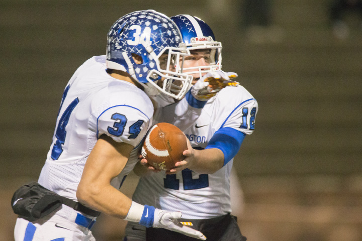 Last Dance for Vance: With his 134 rushing yards Monday night against Darien in the CIAC Class LL semifinals at Boyle Stadium, Vance Upham finished with 1,950 yards on the season and 3,832 for his career. Both are Southington program records. | Justin Weekes, Special to the Record-Journal
