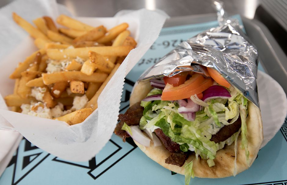 A beef and lamb gyro with Greek fries at Crazy Greek restaurant at 1143 Meriden-Waterbury Tpke. in Southington, Thursday, February 23, 2017. | Dave Zajac, Record-Journal
