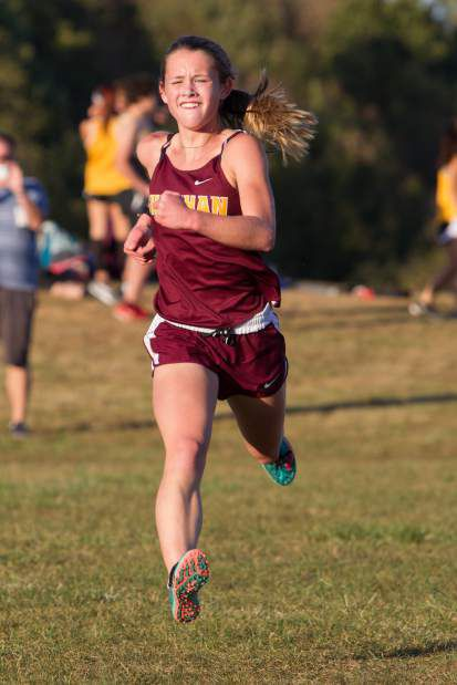 Liz Brown of Sheehan won the girls race at the ninth annual Connecticut River Valley Invitational at Cromwell High School on Saturday. | Justin Weekes / For the Record-Journal