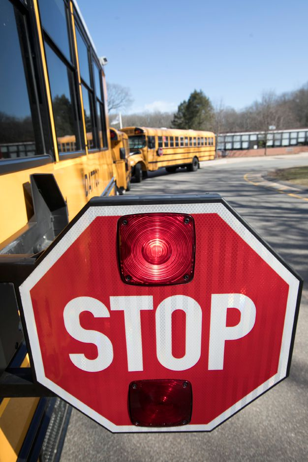 A stop sign extended on a school bus at Lyman Hall High School in Wallingford, Wednesday, February 28, 2018. Dave Zajac, Record-Journal