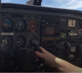 Inside a Cessna 172, the plane Cretella has been training in, at Meriden Markham Airport. |Ashley Kus, The Plainville Citizen