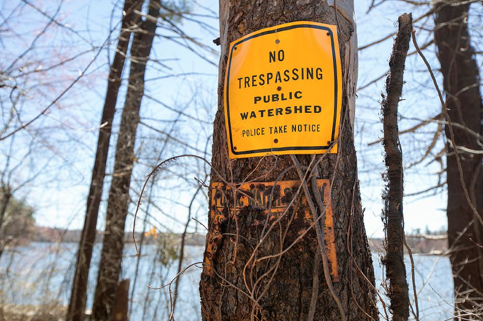 "One of many ""No Trespassing"" signs posted around Broad Brook Reservoir along Reservoir Road in Cheshire, Tues., Apr. 16, 2019. Dave Zajac, Record-Journal"