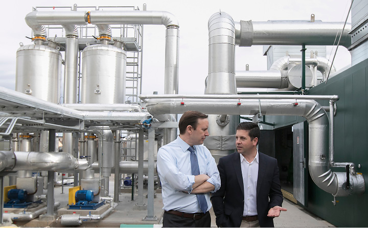 U.S. Sen Chris Murphy, D-Conn., left, tours Quantum Biopower in Southington with Brian Paganini, Quantum's vice president and managing director, on Wednesday. The plant converts common food waste into combustible gas and energy. | Dave Zajac, Record-Journal