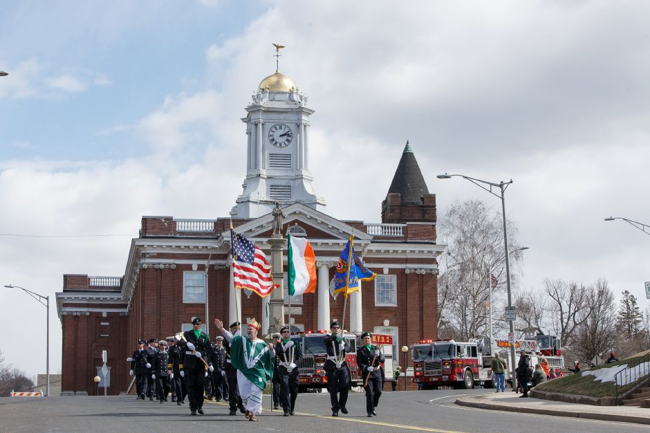 The Meriden Fire color guard leads the start of the parade Saturday during the 45th Annual St. Patrick