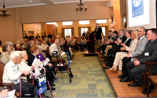 Perry Phillips, Executive Director of Masonicare At Mystic speaks at the grand opening and ribbon cutting at Masonicare At Mystic on Tuesday, April 25th, 2017.   | Christine Corrigan, The Westerly Sun