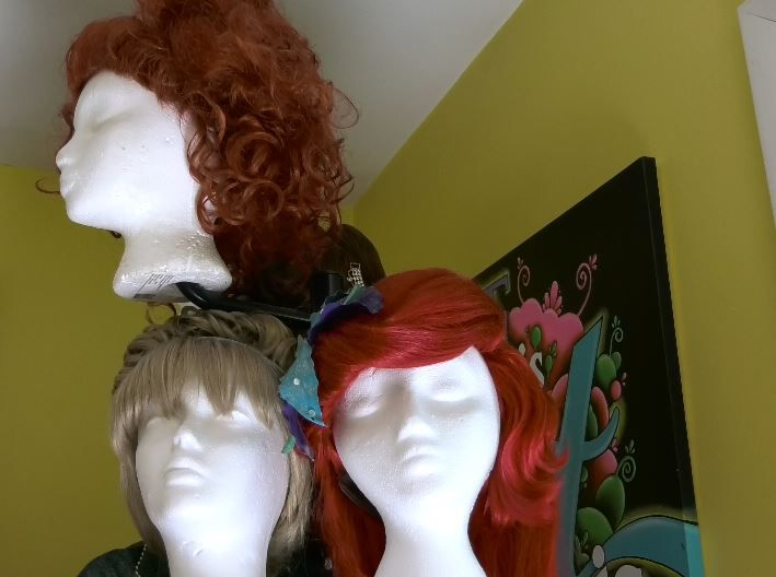 Princess and witch wigs used for chacracter parties and events by Face Candy Art and Entertainment, Meriden.