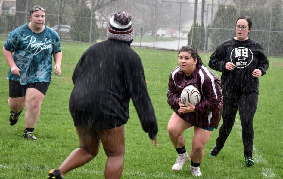 High school junior Daniella Minicucci during a North Haven Girls Rugby team practice at the athletic complex on April 22, 2019. Their next game is May 2, 4:30 p.m. at the athletic complex. | Bailey Wright, North Haven Citizen