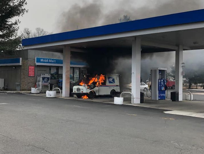 A Postal Service truck caught fire at 276 Washington Ave. in North Haven on Wednesday morning. | Courtesy of the North Haven Fire Department