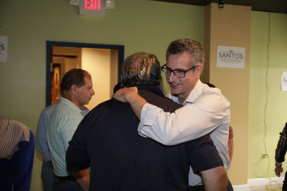 Manny Santos declares victory in the Republican primary for the U.S. 5th District race Tuesday night Aug. 14, 2018. | Devin Leith-Yessian, Record-Journal