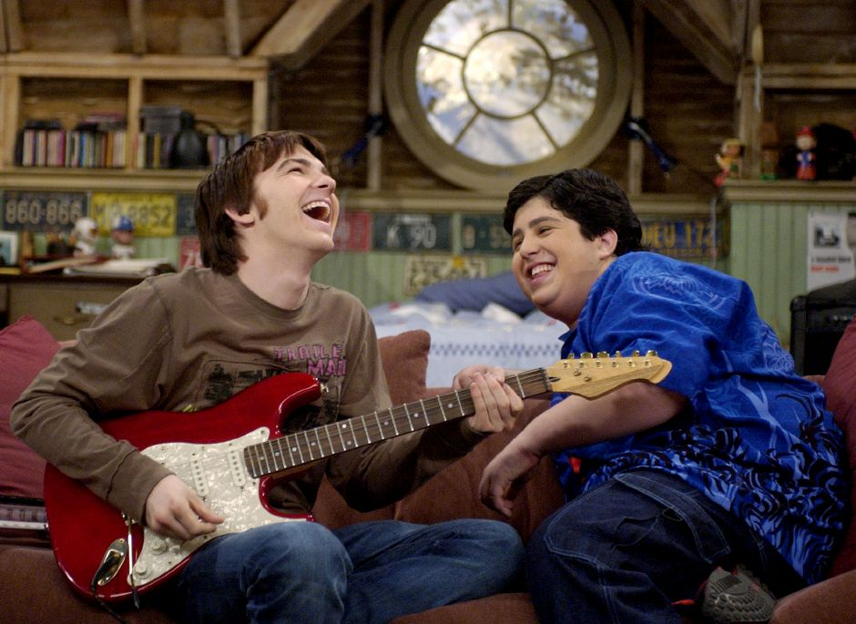 Drake Bell, left, and Josh Peck joke around on the set of the new children