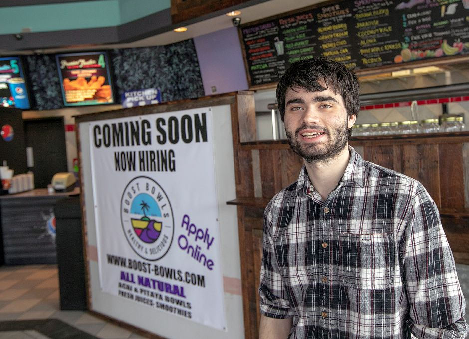 Holiday Cinemas manager, John Gaughran, of Meriden, talks about Boost Bowls coming to the Wallingford theater, Fri., Mar. 1, 2019. Dave Zajac, Record-Journal