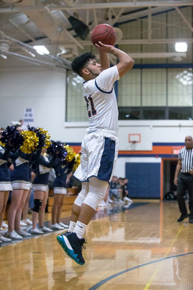 Lyman Hall senior Austin Ruiz scored a season-high 24 points in Monday night's 75-45 loss to Sheehan. | Justin Weekes / Special to the Record-Journal