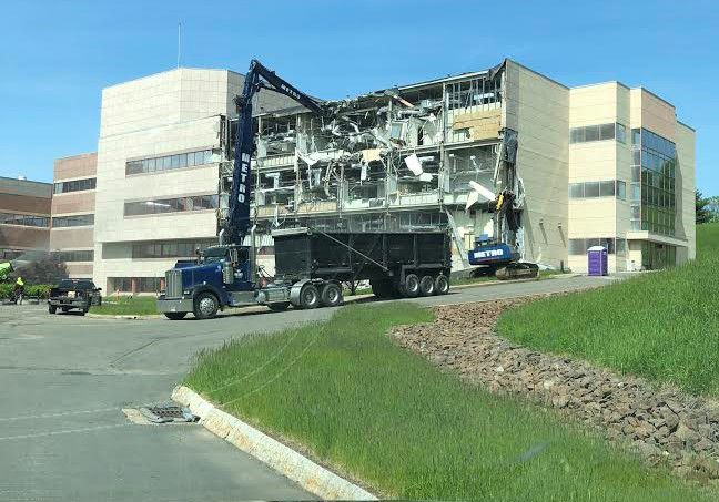 Demolition began on the former Bristol-Myers Squibb facility, 5 Research Parkway in Wallingford, May 21, 2019. Contributed by James Manley, Calare Properties