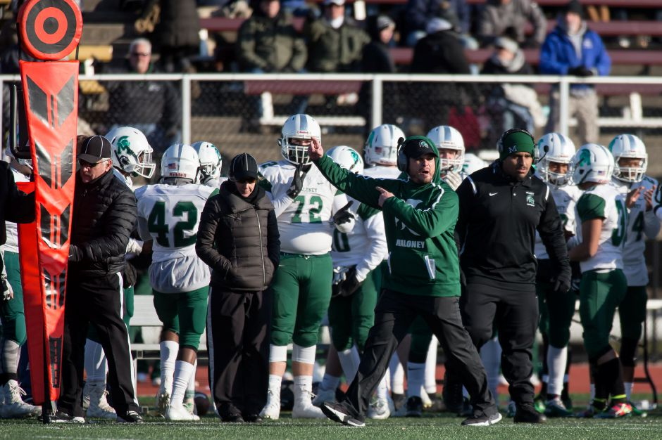Friday's 42-35 loss on Friday in Newington dropped head coach Kevin Frederick and his Maloney Spartans from the ranks of the undefeated. At 5-1, they still rank high in the Class L playoff points at No. 4. | Justin Weekes / Special to the Record-Journal