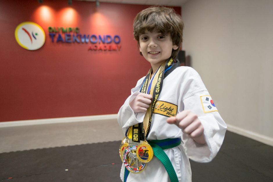 Taekwondo artist Lorenzo Pragano, 9, of Meriden, trained in South Korea for more than three weeks this summer after winning at the AAU National Championships in Florida. Justin Weekes, special to the Record-Journal