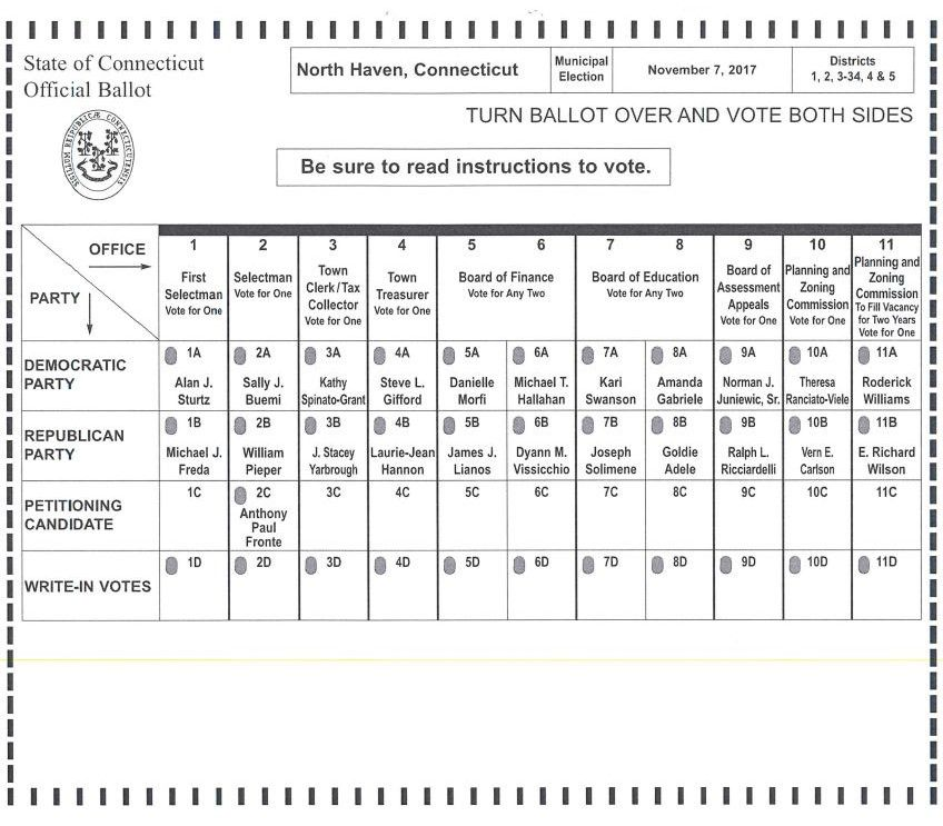 North Haven sample ballot | Contributed