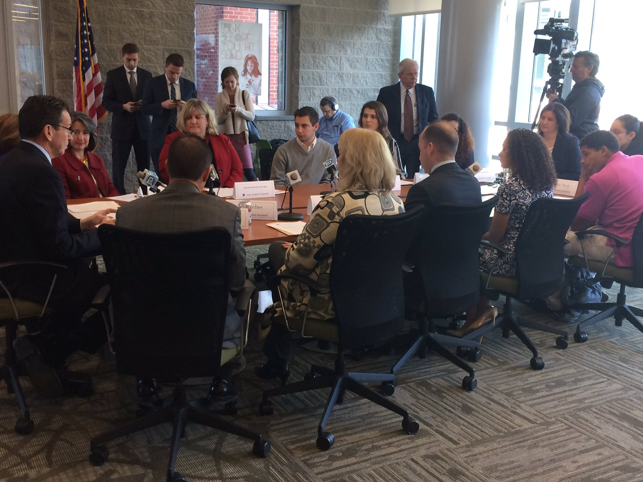 Gov. Dannel P. Malloy, state and local officials discuss youth homelessness with students at Maloney High School during a roundtable discussion Wednesday. | Courtesy of state Department of Housing