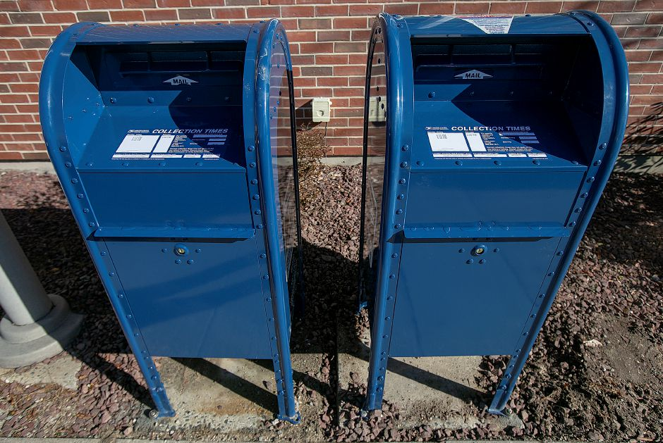 New mailboxes at the Cheshire Post Office, Fri. Feb. 8, 2019. The new mailboxes replace ones damaged by thieves recently. Dave Zajac, Record-Journal