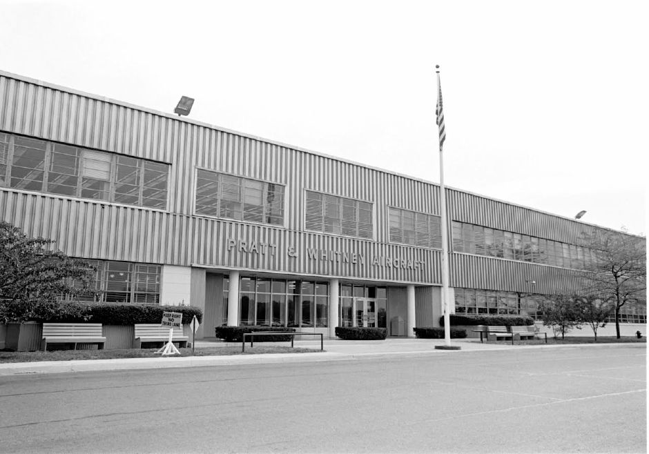 An example of a historic photo of Pratt & Whitney. Prints from a private collection will be displayed soon at the North Haven Town Hall. This shows the exterior of the plant in 1966.