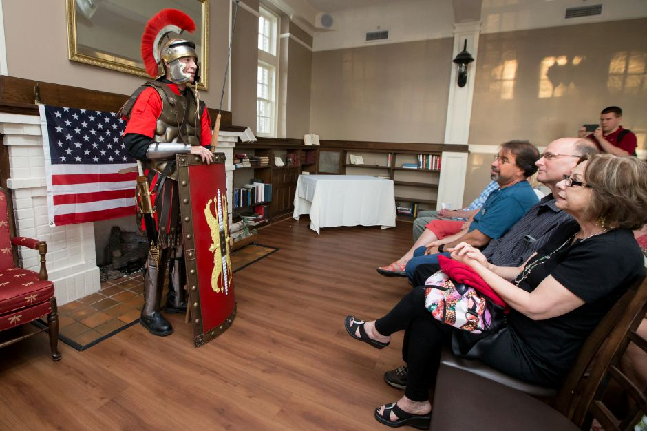 Mayor William Dickinson Jr. dressed as a Roman Centurion announces he will run for re election seeking his 18th term as Wallingford Mayor Wednesday during the Wallingford Republican Town Committee meeting at The Library Wine Bar and Bistro in Wallingford Jun. 14, 2017 | Justin Weekes / For the Record-Journal