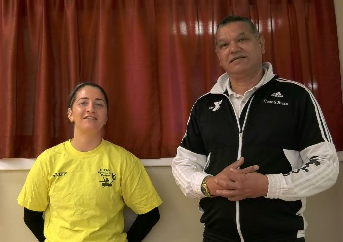 Morgaine Degnan, gymnastics instructor, and Coach Brian Le Roux of In-Flight Gymnastics talk about the new gymnastics program in 2019 at Wallingford Family YMCA, 81 South Elm Street Wallingford, Dec. 17, 2018. |Ashley Kus, Record-Journal