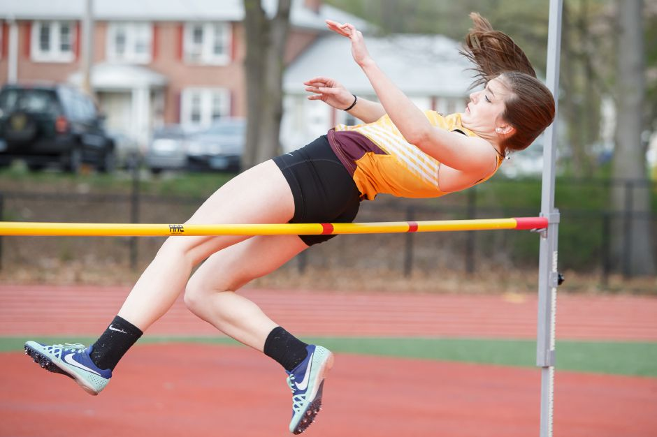 Sheehan senior Kyra Connolly had the top pole vault in Tuesday's SCC Girls Developmental indoor track meet at the Floyd Little Athletic Center in New Haven. She cleared 9 feet. | Justin Weekes / Special to the Record-Journal