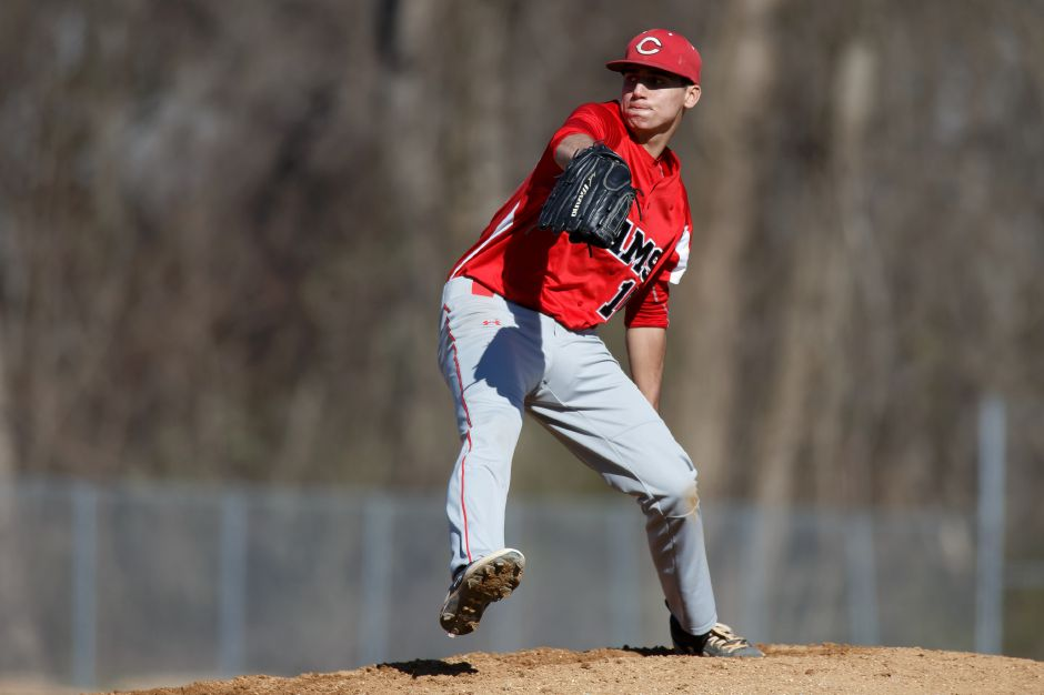 Junior left-hander Matt Downing earned the victory in Cheshire's 6-3 victory Friday over Amity. | Justin Weekes / Special to the Record-Journal