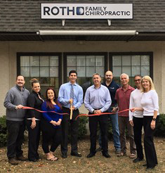 Roth Family Chiropractic at its recent ribbon cutting event. PIctured: Chris Edge, Christina Savage, Katlynn Perretta, Dr Justin Roth, Mayor Mark Kaczynski, Chris Coppola, Ralph Miller, Dr Mark Roth, Janice Roth.
