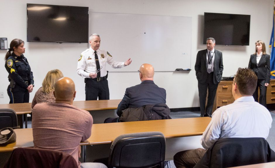 Wallingford Police Chief William Wright addresses parents at a meeting regarding an inappropriate message left on a Sheehan High School whiteboard. The meeting was held at the police department headquarters on March 23, 2018. | Devin Leith-Yessian/Record-Journal