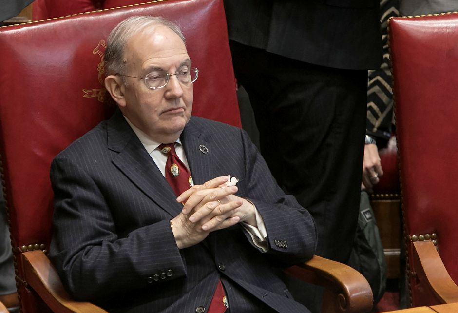 Senate President Pro Tempore Martin M. Looney, D-New Haven, sits at his seat during opening day of the 2018 legislative session in Hartford, Wednesday, Feb. 7, 2018. Dave Zajac, Record-Journal