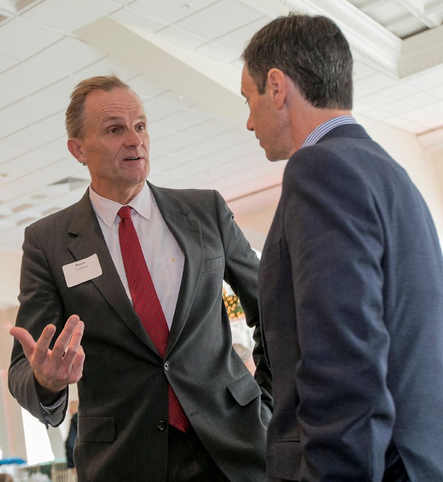 Candidates Peter Thalheim, left, speaks with Michael Handler at conclusion of the Connecticut Construction Industries Association forum at the Aqua Turf in Southington, Friday, Dec. 15, 2017. Ten Republican gubernatorial candidates shared their positions on state finances, budget, transportation, economic growth and Connecticut's decline at the forum. Dave Zajac, Record-Journal