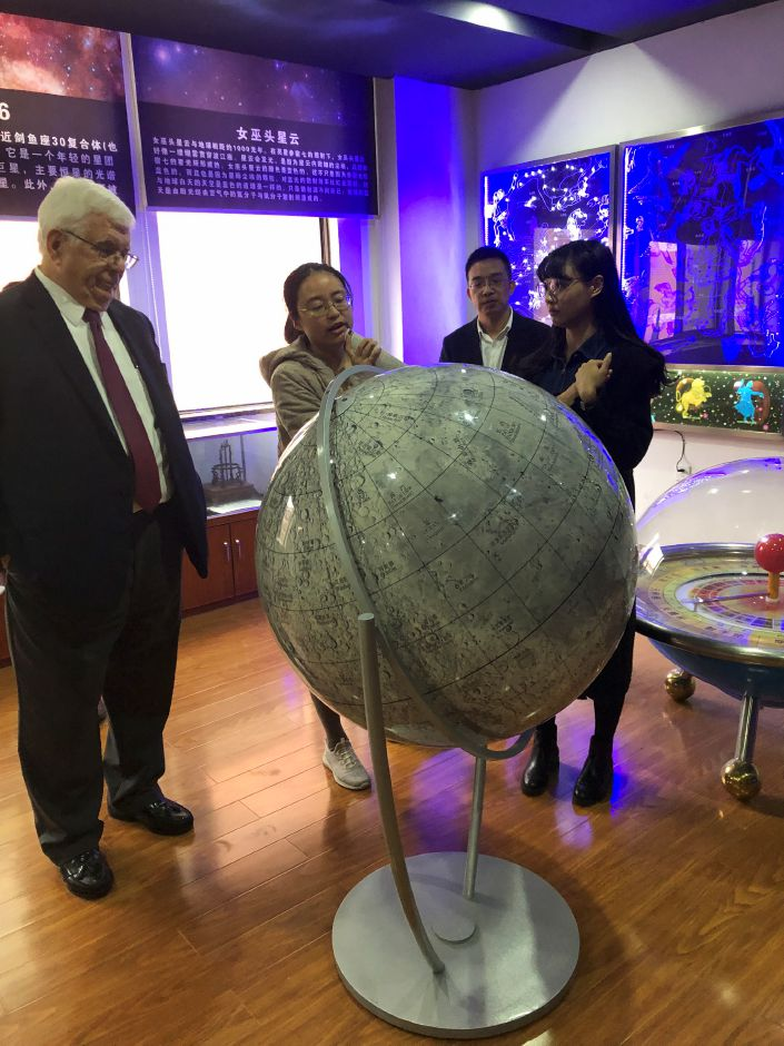 Regional School District 13 administrators visit the astronomy lab at Tongji High School in Ningbo, China, last December. A partnership between the schools will begin this fall. | Photo Courtesy Brian Falcone