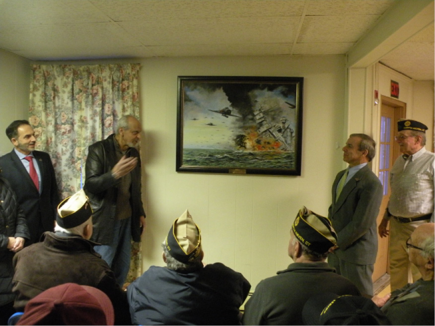 Eugene Teixeira, second from left, donated his painting of the Pearl Harbor attack to the American Legion Post 76 Veterans Center. | Ken Liebeskind, The North Haven Citizen