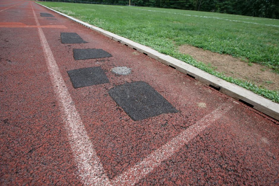Maloney's track, as seen Friday,  has had many repairs.Justin Weekes, special to the Record-Journal