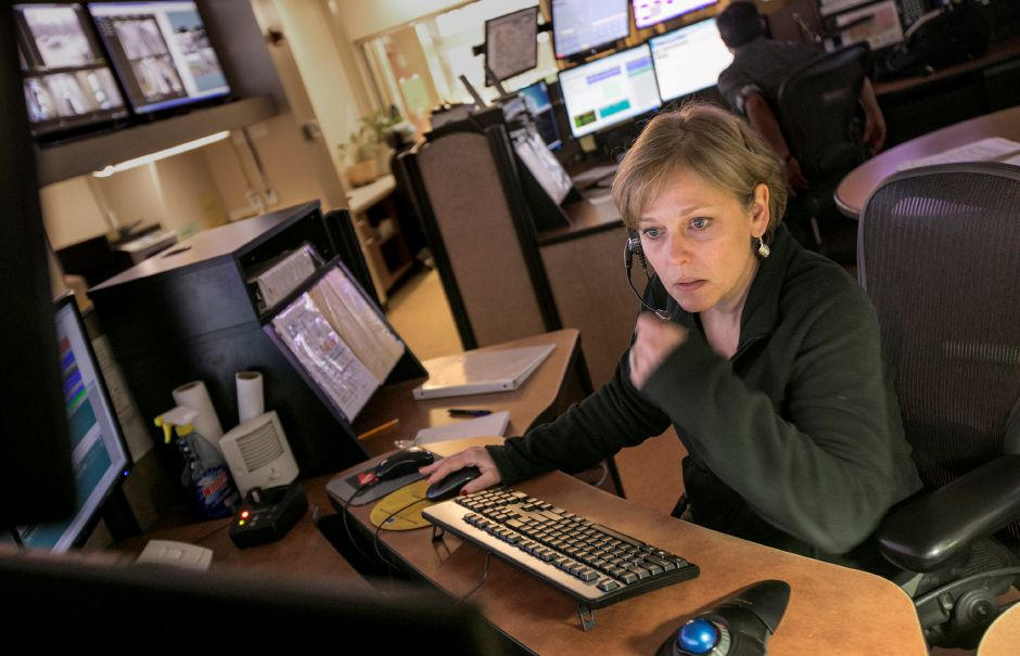 Dispatcher Wendi Roy, of Southington, works at her station at the Southington Police Department. Dave Zajac, Record-Journal