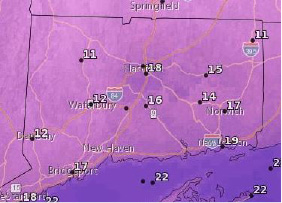 Expected temperatures Saturday night about 7 p.m. | Courtesy of the National Weather Service