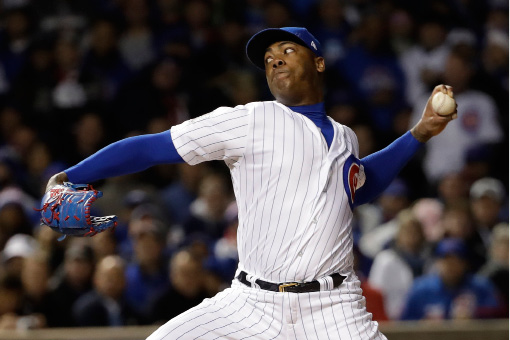 "FILE - This  Oct. 30, 2016 file photo shows Chicago Cubs relief pitcher Aroldis Chapman throwing during the seventh inning of Game 5 of the Major League Baseball World Series in Chicago. Given he never pitched into the ninth inning this year, CC Sabathia is happy the New York Yankees brought back Chapman. ""It"
