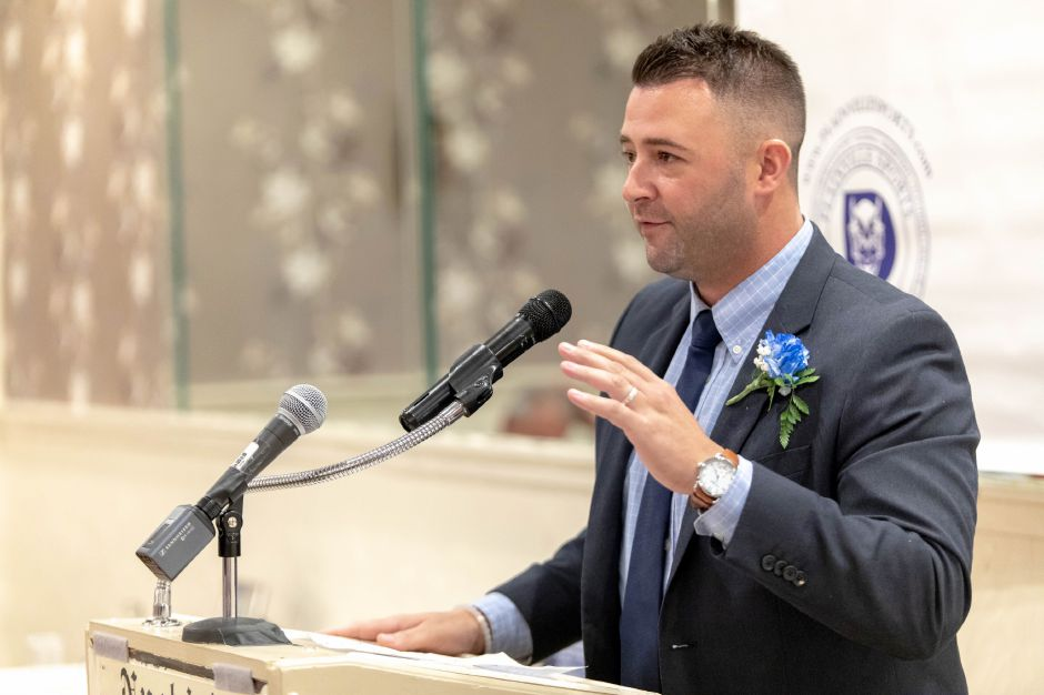Plainville High School baseball player Nicholas Macellaro was inducted into the Plainville Sports Hall of Fame on Oct. 6, 2018. | Devin Leith-Yessian/Plainville Citizen