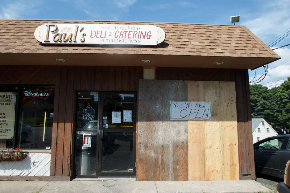A car crashed into the front of the deli over the weekend Tuesday at Paul