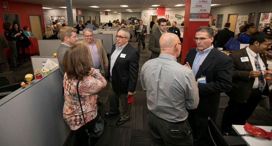 Guests gather as the Record-Journal celebrates its 150th anniversary with a Four-Chamber of Commerce event, Wednesday.