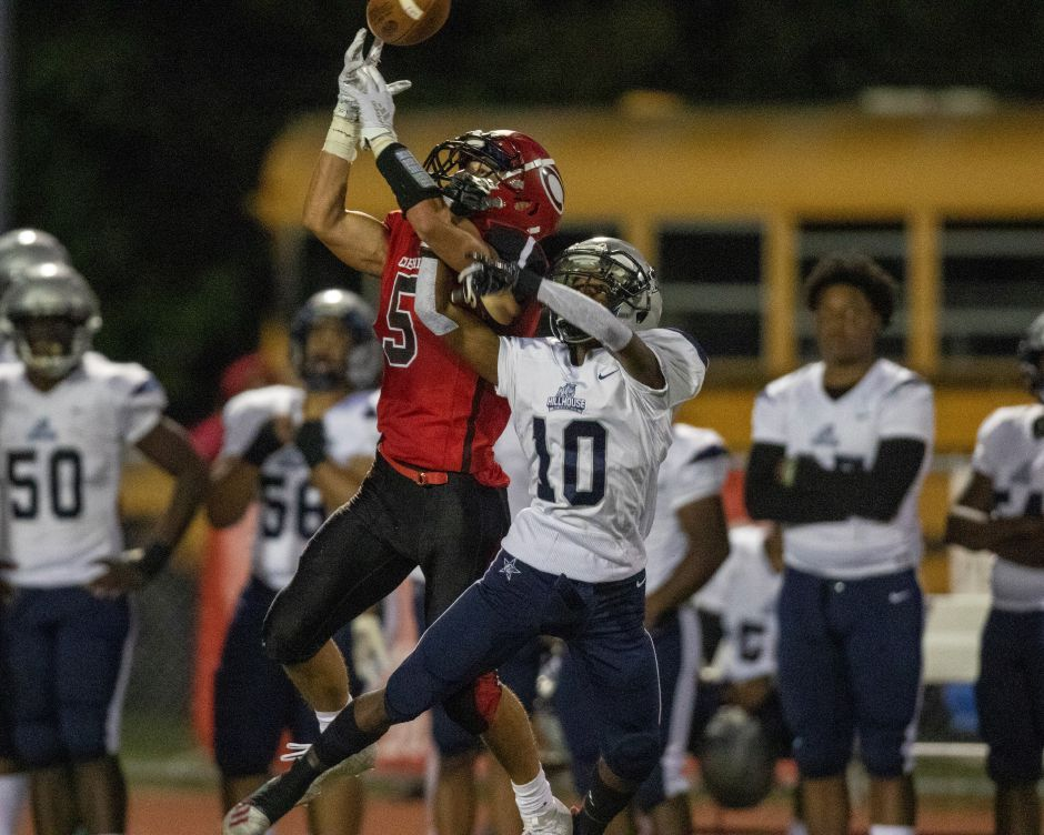 Cheshire's Alec Frione caught four passes for 182 yards and three touchdowns in Friday's 35-28 defeat at Hall. | James Brandolini/Cheshire Herald.