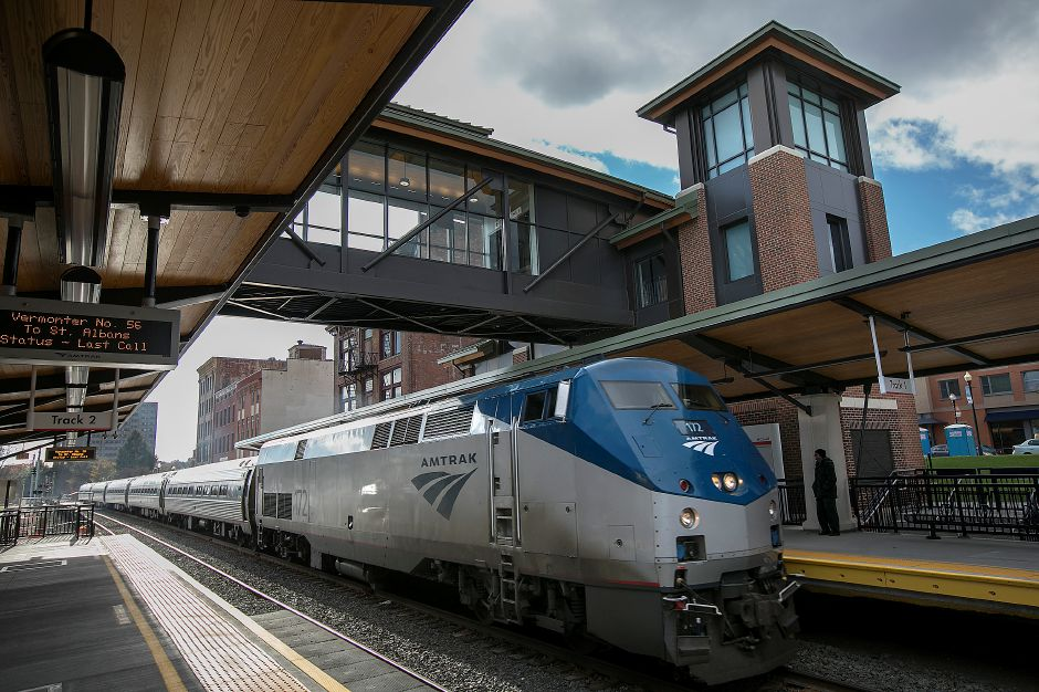 An Amtrak train headed north pulls into the new Meriden station Monday, Nov. 20, 2017. The station opened Friday. | Dave Zajac, Record-Journal