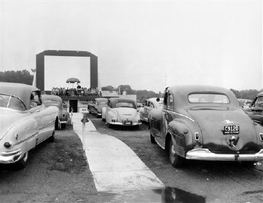 This is how the congregation looked at the first Protestant vesper service held at the drive-in theater on Route 3 near Providence, R.I., July 17, 1951. The sermon was amplified to each car. The presence of the huge movie screen seemed to detract little from the religious atmosphere of the vesper program. (AP Photo)