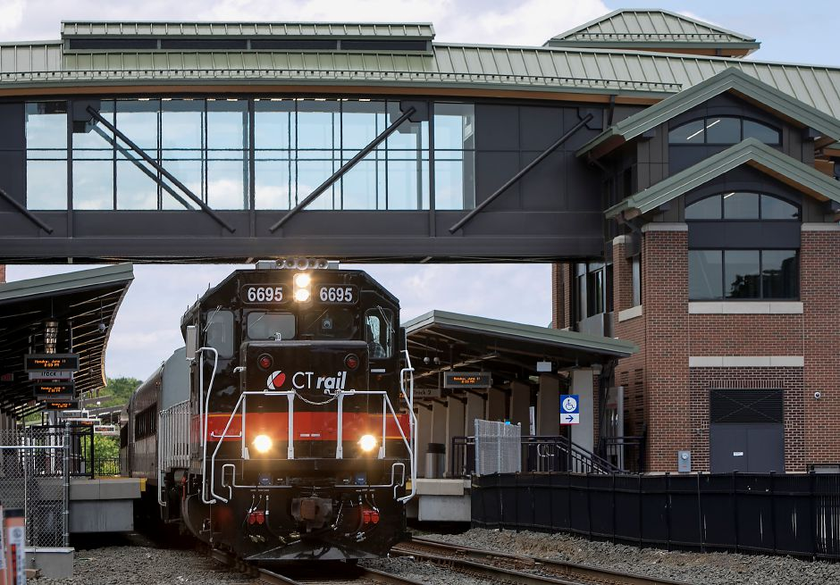 "A CTrail train pulls out of the Meriden train station, Monday, June 11, 2018. The state Department of Transportation has begun running ""test trains"" in preparation of the new Hartford Line rail service, scheduled to launch Saturday. Dave Zajac, Record-Journal"