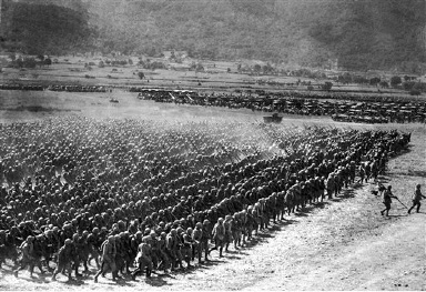 Part of the huge review of soldiers and armaments at the conclusion of the Italian war manoeuvres in Irpinia, Italy, on Aug. 31, 1936, watched by Italian Prime Minister Benito Mussolini, Italy