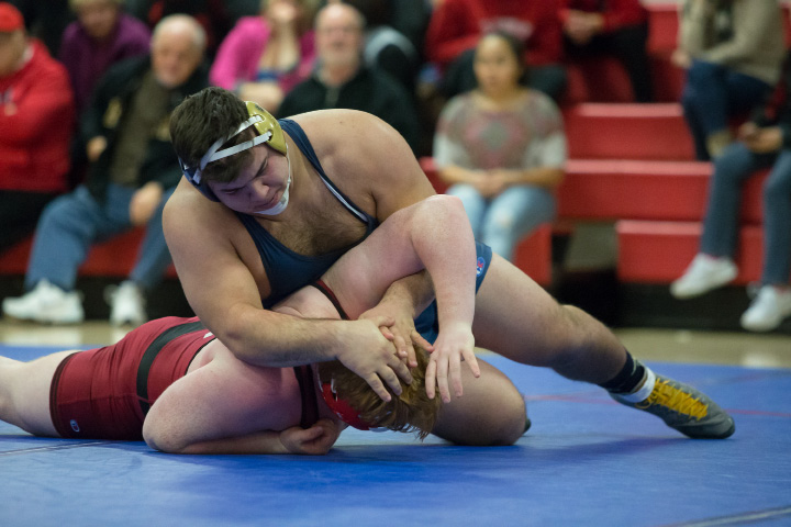 Platt's Nick Martone won the heavyweight title at this weekend's CIAC Class M Tournament in Guilford, earning his 100th career win in the process. | Justin Weekes, Special to the Record-Journal