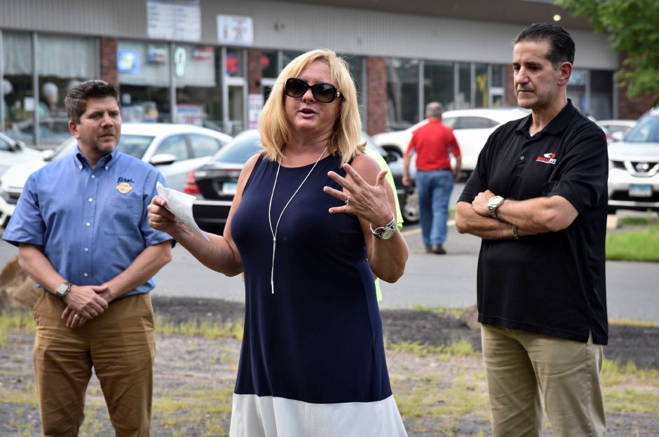 Southington tow councilor and drive-in committee member, Dawn Miceli, speaks at a ribbon cutting for the Southingon Drive-In