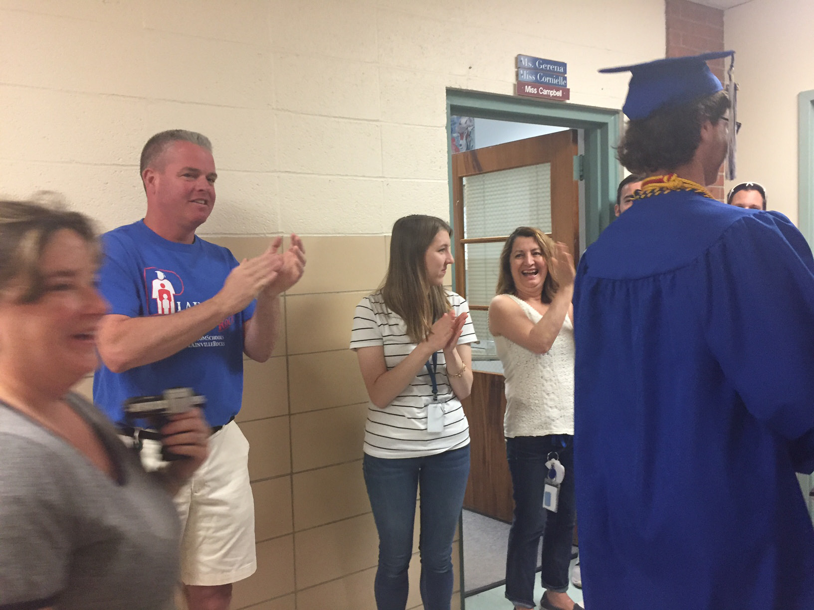 Plainville High School seniors walked down the hall of Wheeler Elementary School, Thursday, June 15. Linden and Toffolon participated as well in the first senior walk. |Ashley Kus, The Plainville Citizen
