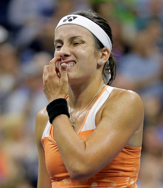 Anastasija Sevastova, of Latvia, reacts after a shot against Serena Williams during the semifinals of the U.S. Open tennis tournament, Thursday, Sept. 6, 2018, in New York. (AP Photo/Seth Wenig)